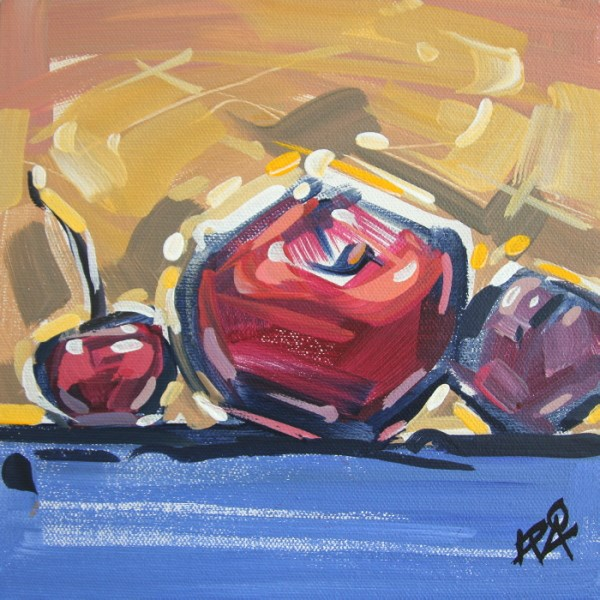 """Playful Fruit Abstraction 1"" original fine art by Roger Akesson"