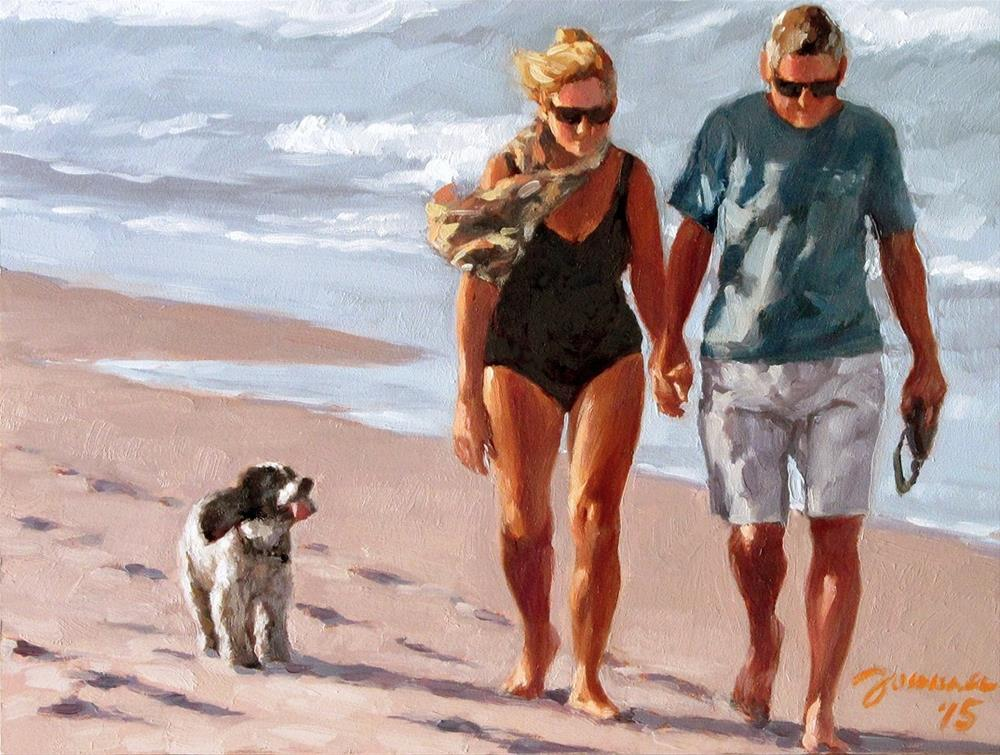 """Are We There Yet? -- Series Painting of Dogs & Owners on the Beach"" original fine art by Joanna Bingham"