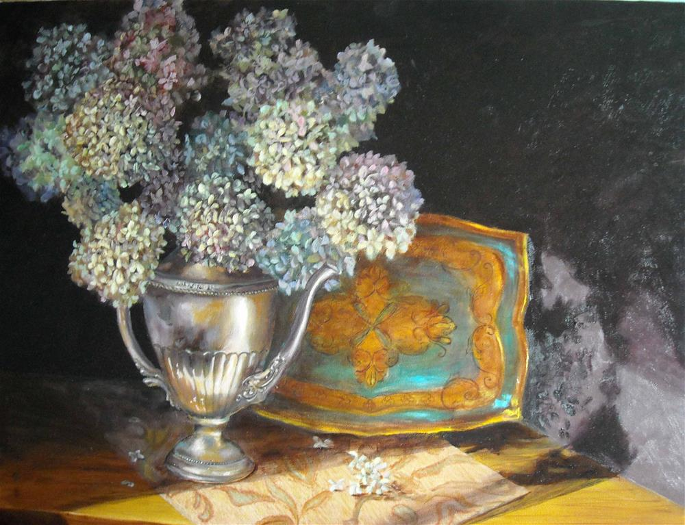 """Hydrangeas and Silver"" original fine art by Lina Ferrara"