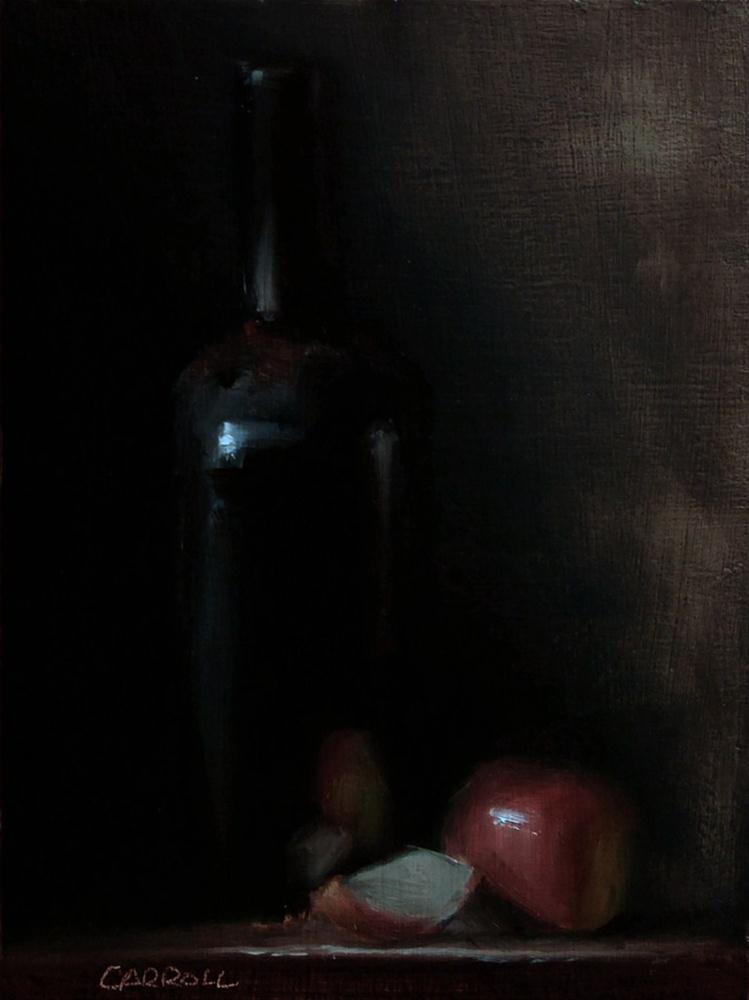 """""""Bottle with Sliced Apple"""" original fine art by Neil Carroll"""