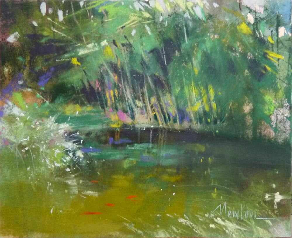 """""""Turning Point - color study for pond painting"""" original fine art by Barbara Benedetti Newton"""