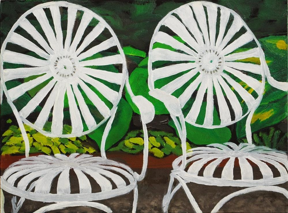 """Antique Deck Chairs"" original fine art by Gary Westlake"