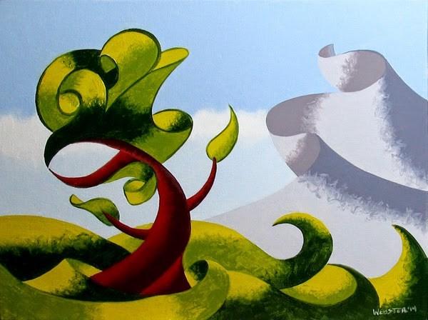 """Mark Adam Webster - Abstract Geometric Landscape Oil Painting 4.1.14"" original fine art by Mark Webster"