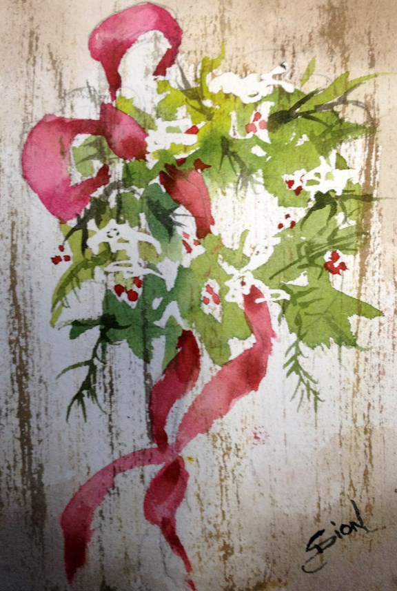 """Merry Christmas All"" original fine art by Sue Dion"