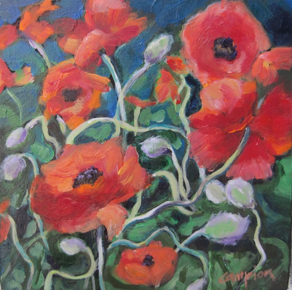 """142 Ann's Dancing Poppies"" original fine art by Diane Campion"