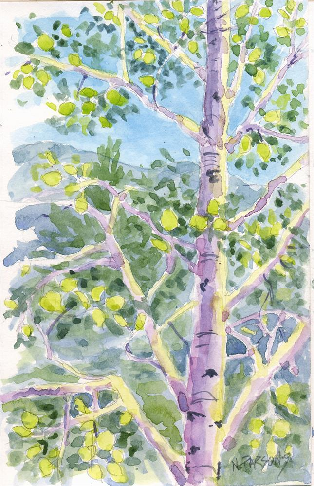 """""""Aspen in Light"""" original fine art by Nancy Parsons"""