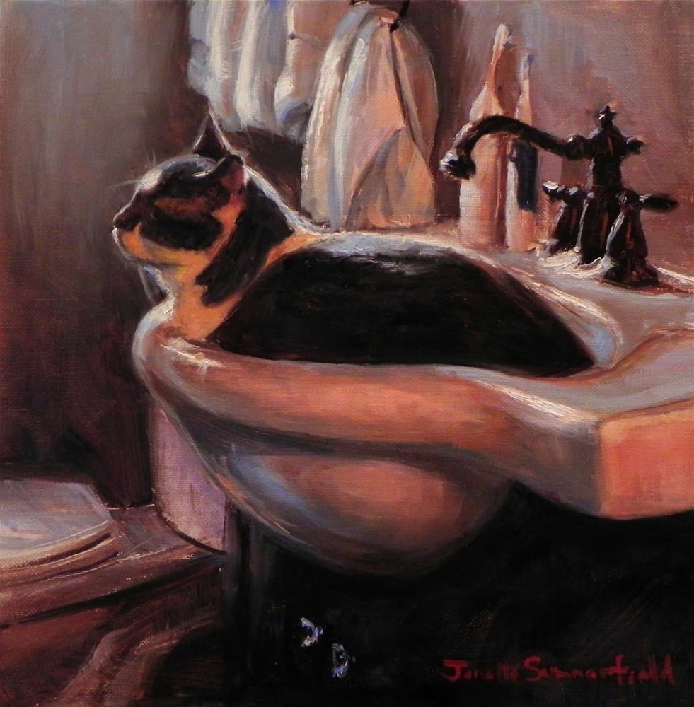 """""""Cat-Shaped Sink"""" original fine art by Jonelle Summerfield"""