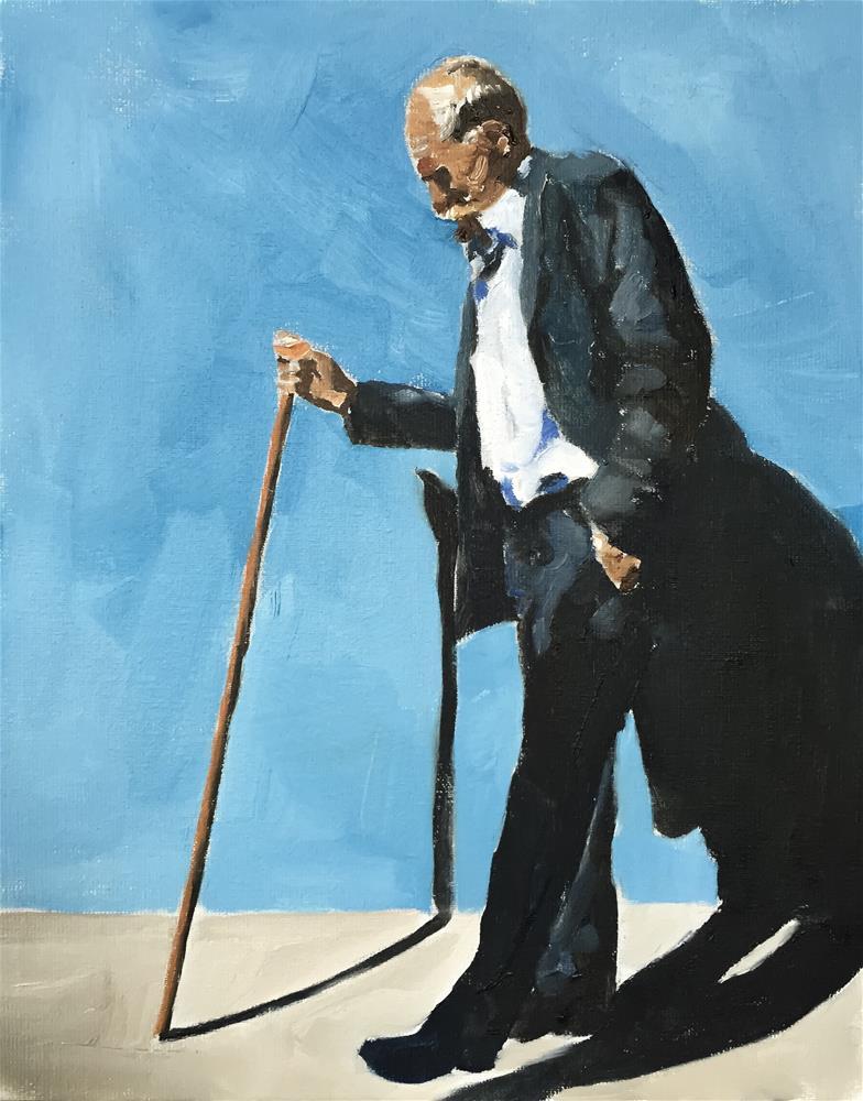"""Man with Stick"" original fine art by James Coates"