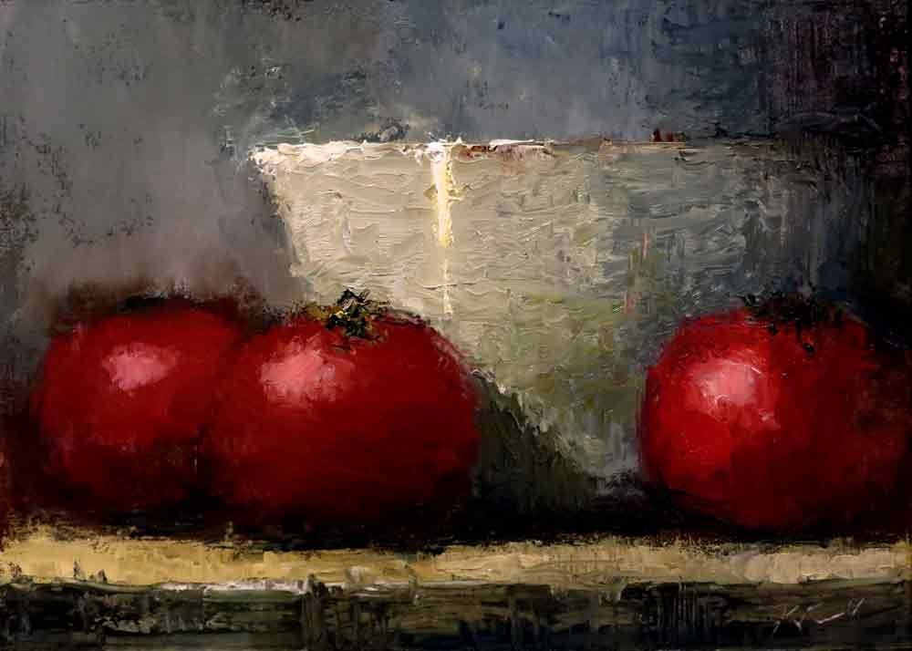 """Still Life with Tomatoes"" original fine art by Bob Kimball"