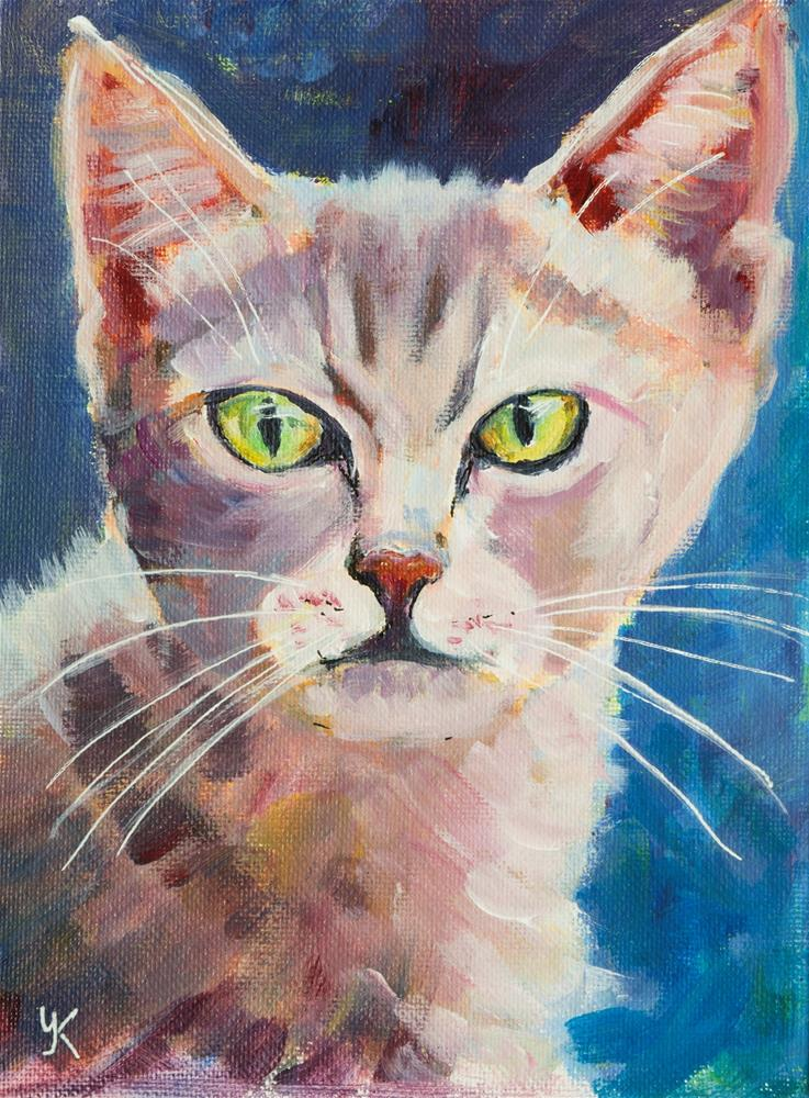 """Fluffy Kitty"" original fine art by Yulia Kazansky"