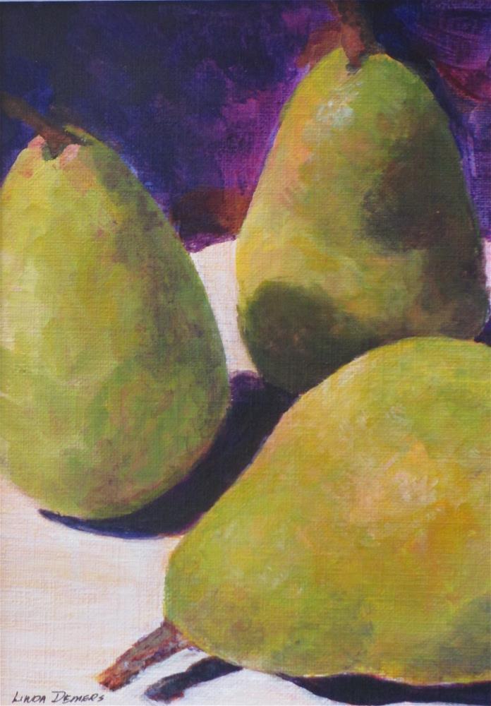 """3 Green Pears"" original fine art by Linda Demers"