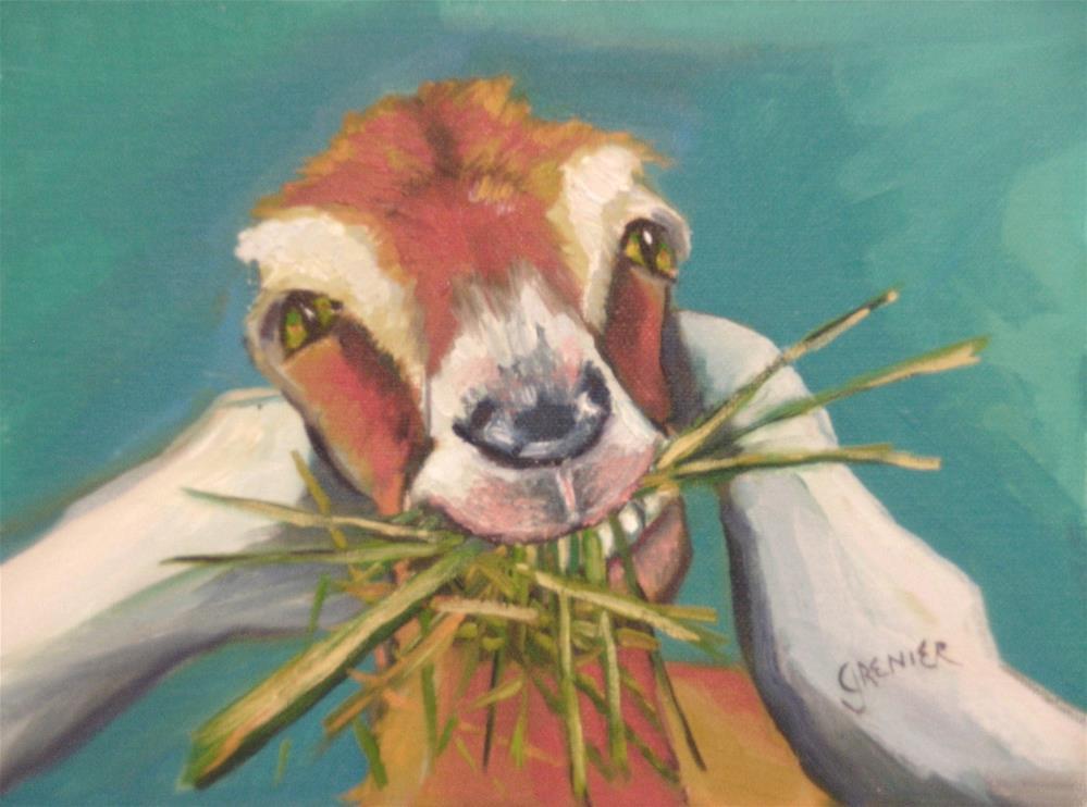 """Original Oil Painting Goat Eating Hay 6X8 Farm Animal"" original fine art by jean grenier"