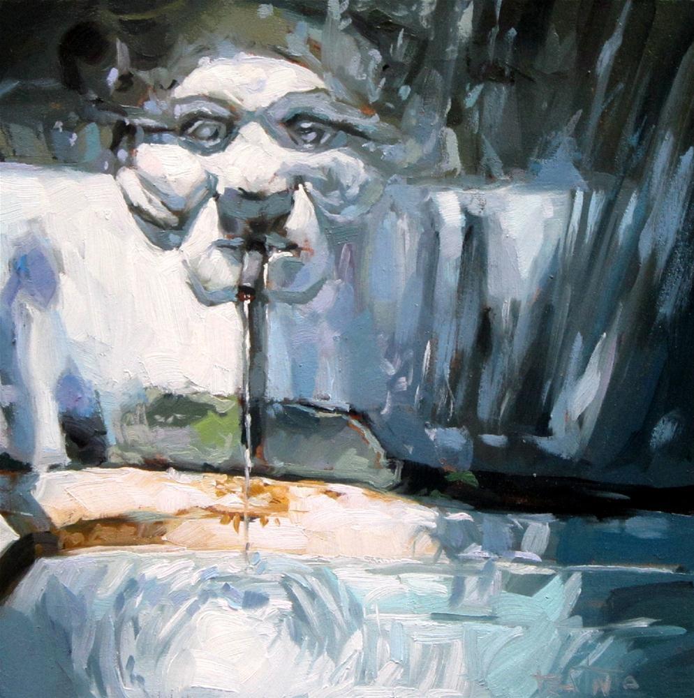 """The fountain of the satyr"" original fine art by Víctor Tristante"