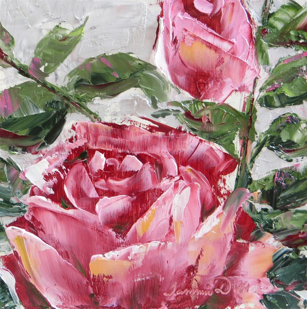 """Pink Rose and Bud"" original fine art by Tammie Dickerson"