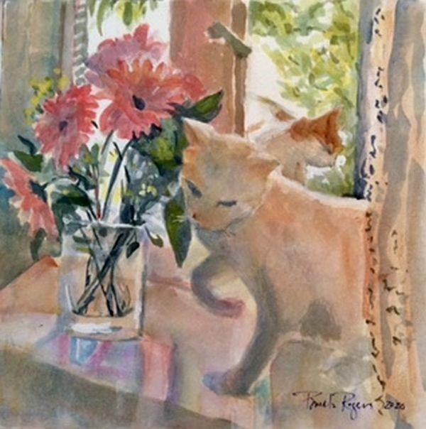 """""""Ginger's Visit"""" original fine art by Pamela Jane Rogers"""