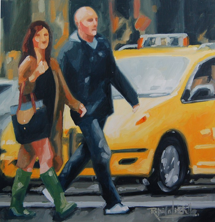 """No 463 Yellow Cab Green Boots"" original fine art by Robin J Mitchell"