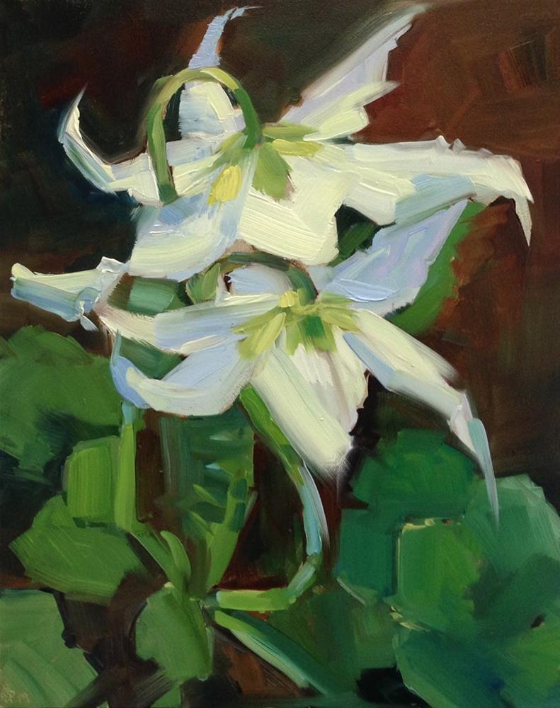 """I'm a Sap (Green) for Lilies"" original fine art by Patti McNutt"