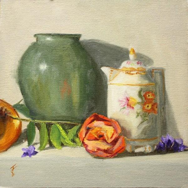 """Mom's Coffee Pot and Rose"" original fine art by Jane Frederick"