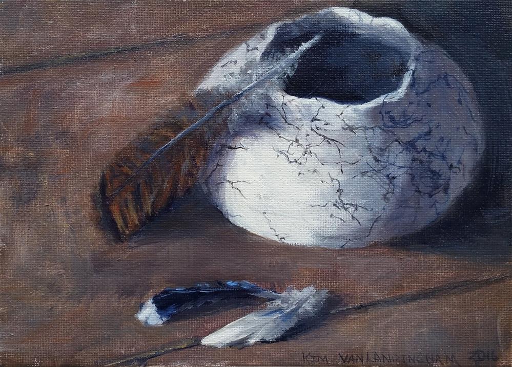 """Horsehair Pottery And Feathers"" original fine art by Kim Vanlandingham"