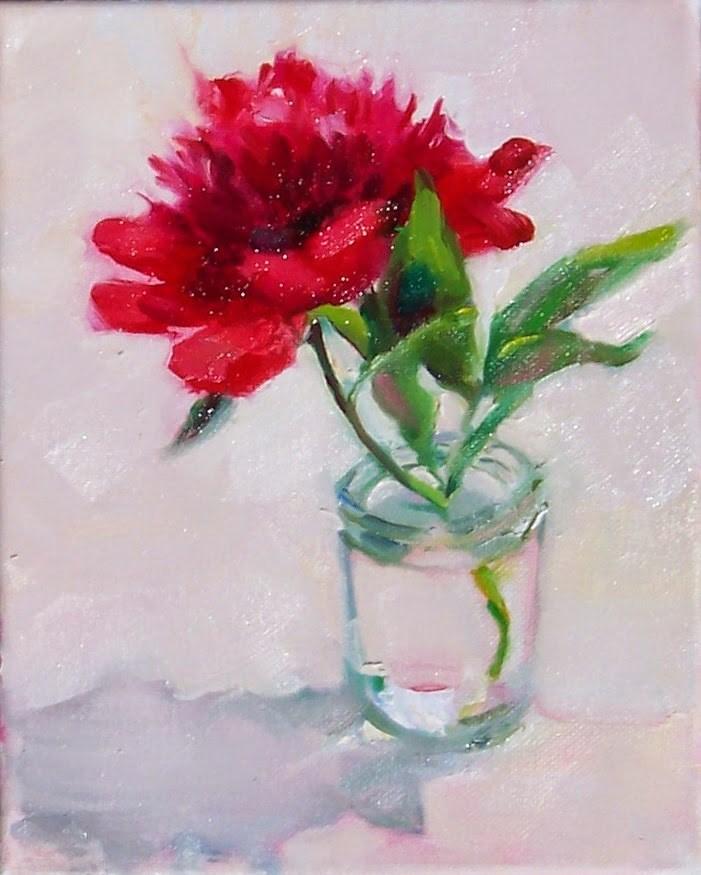 """First Peony,still life,oil on canvas,10x8,price,$250"" original fine art by Joy Olney"