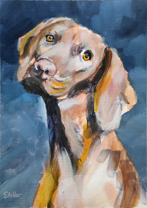 """2660 Walk the Dog"" original fine art by Dietmar Stiller"