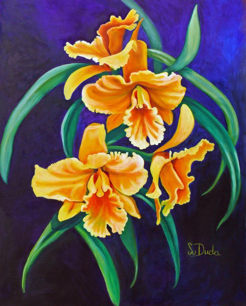 """""""Yellow Cattleya Orchids"""" original fine art by Susan Duda"""