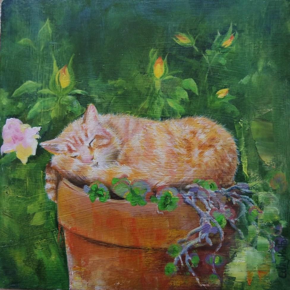 """Rosebud"" original fine art by Cathy Holtom"