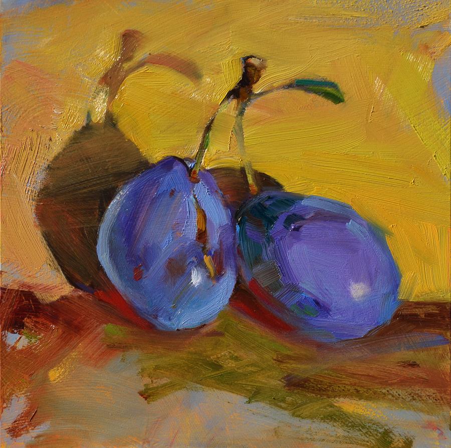 """""""Gloria's Plums"""" original fine art by Jennifer Evenhus"""