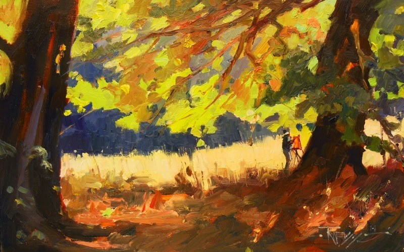 """""""Light Through the Leaves  Plein air landscape painting by Robin Weiss"""" original fine art by Robin Weiss"""