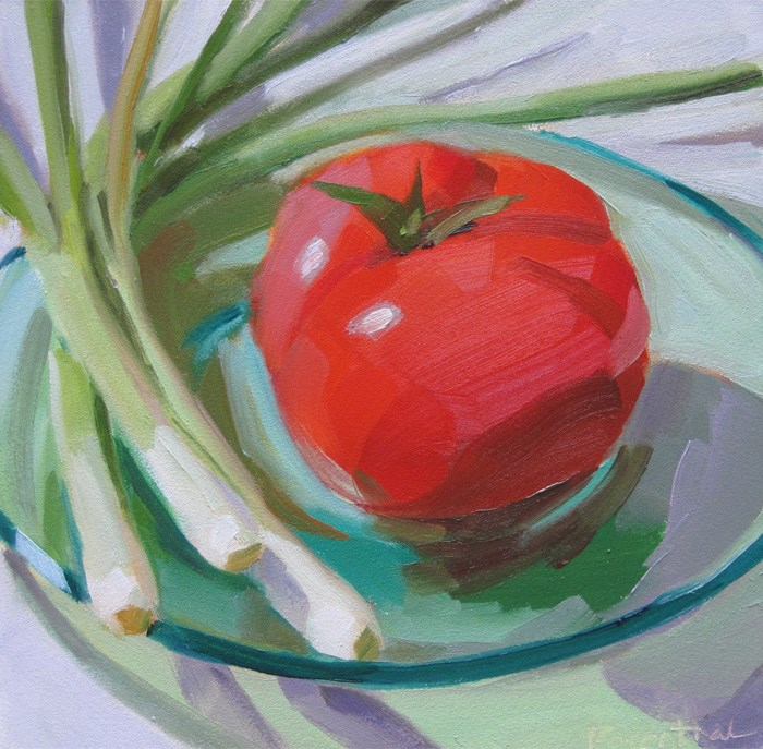 """Tomato and Scallions"" original fine art by Robin Rosenthal"