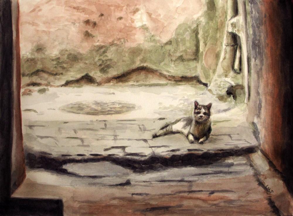 """Cat in the Passageway"" original fine art by Ulrike Miesen-Schuermann"