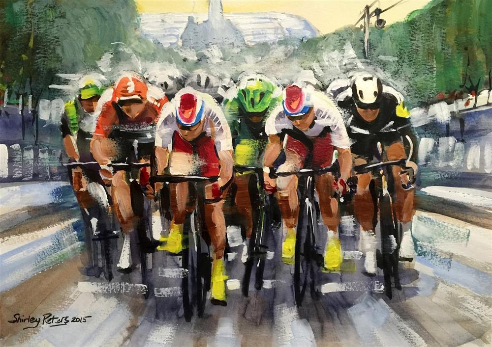 """Greipel's Power Sprint - Stage 21 #TDF"" original fine art by Shirley Peters"