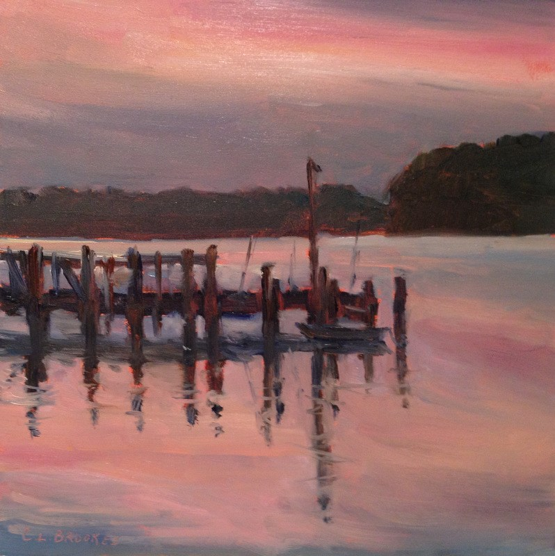 """Last Light on the Water I, Day 66"" original fine art by Claudia L Brookes"