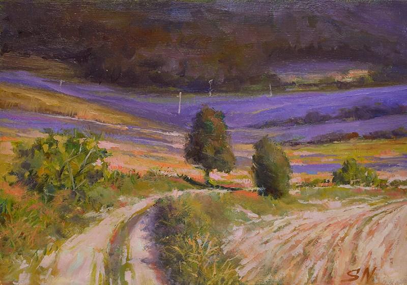 """Landscape of Provence Iavender field - oil painting"" original fine art by Nick Sarazan"
