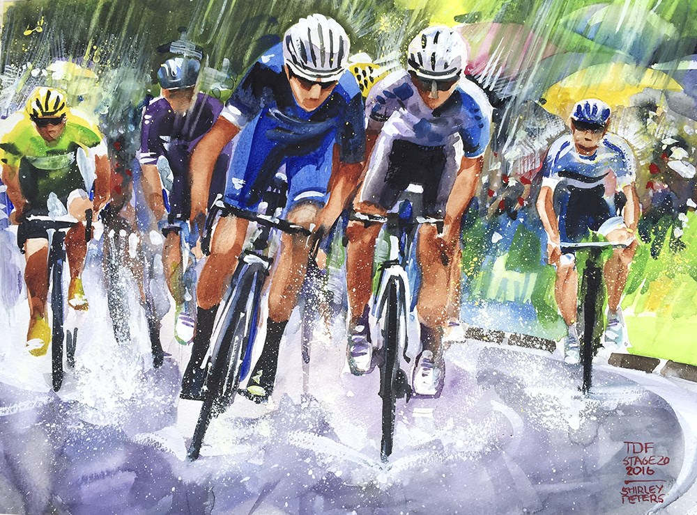 """Sun, Shower, Sprint! Another memory of Le Tour de France."" original fine art by Shirley Peters"