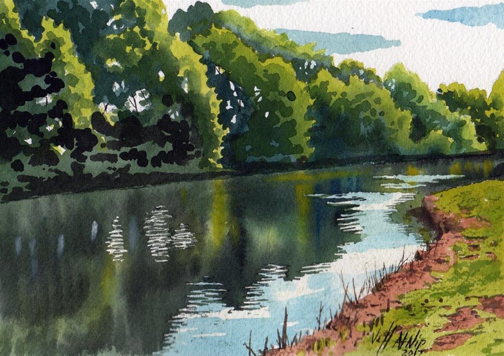 """Fishing Pond"" original fine art by Jeff Atnip"