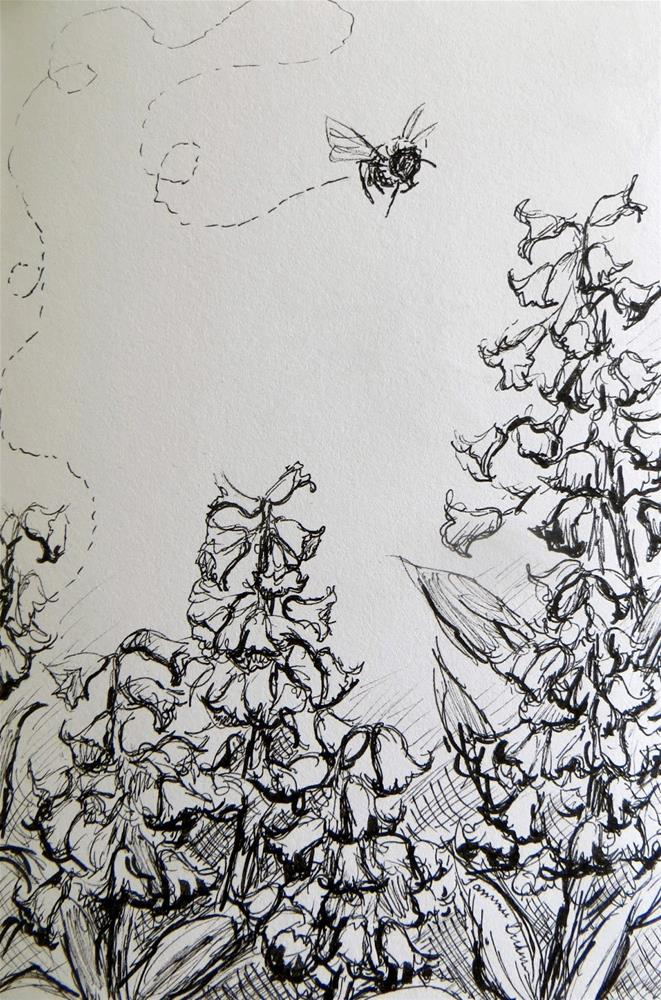 """Hyacinth Bee in Ink"" original fine art by Tammie Dickerson"