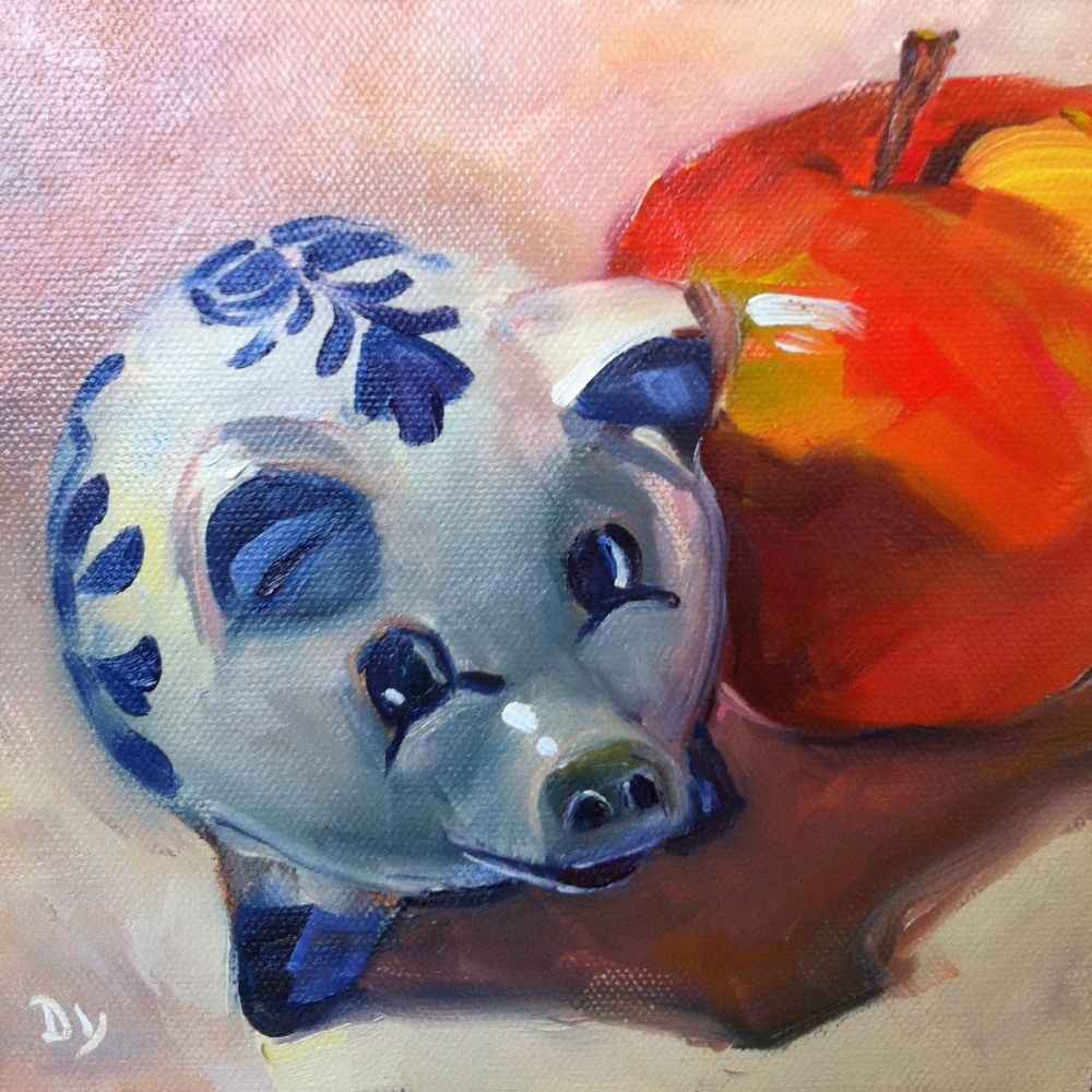 """This Little Piggy, original oil painting, 6x6"" original fine art by Darlene Young"
