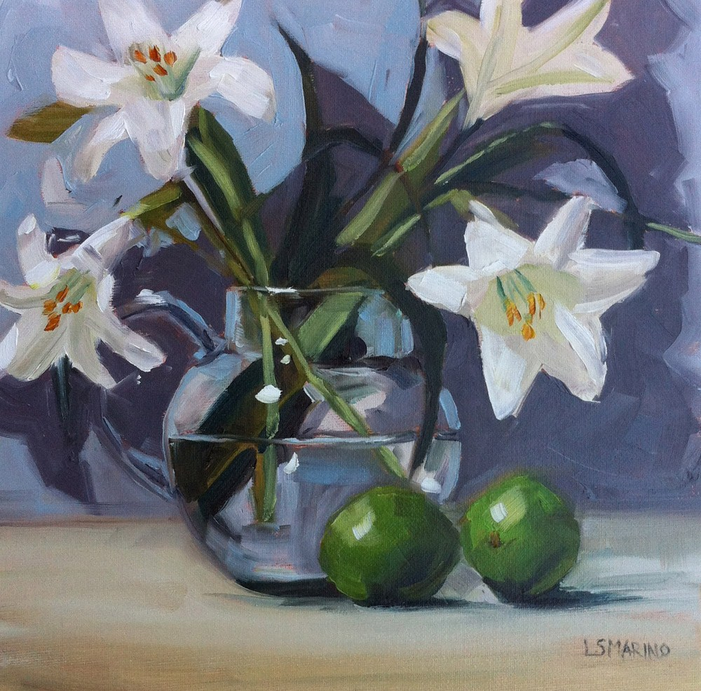 """Lilies and Limes"" original fine art by Linda Marino"