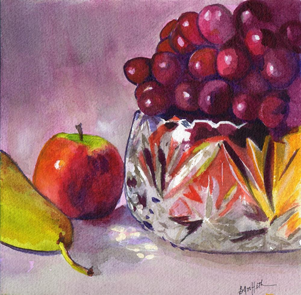 """Still life with Fruit and Crystal bowl"" original fine art by Bunny Griffeth"