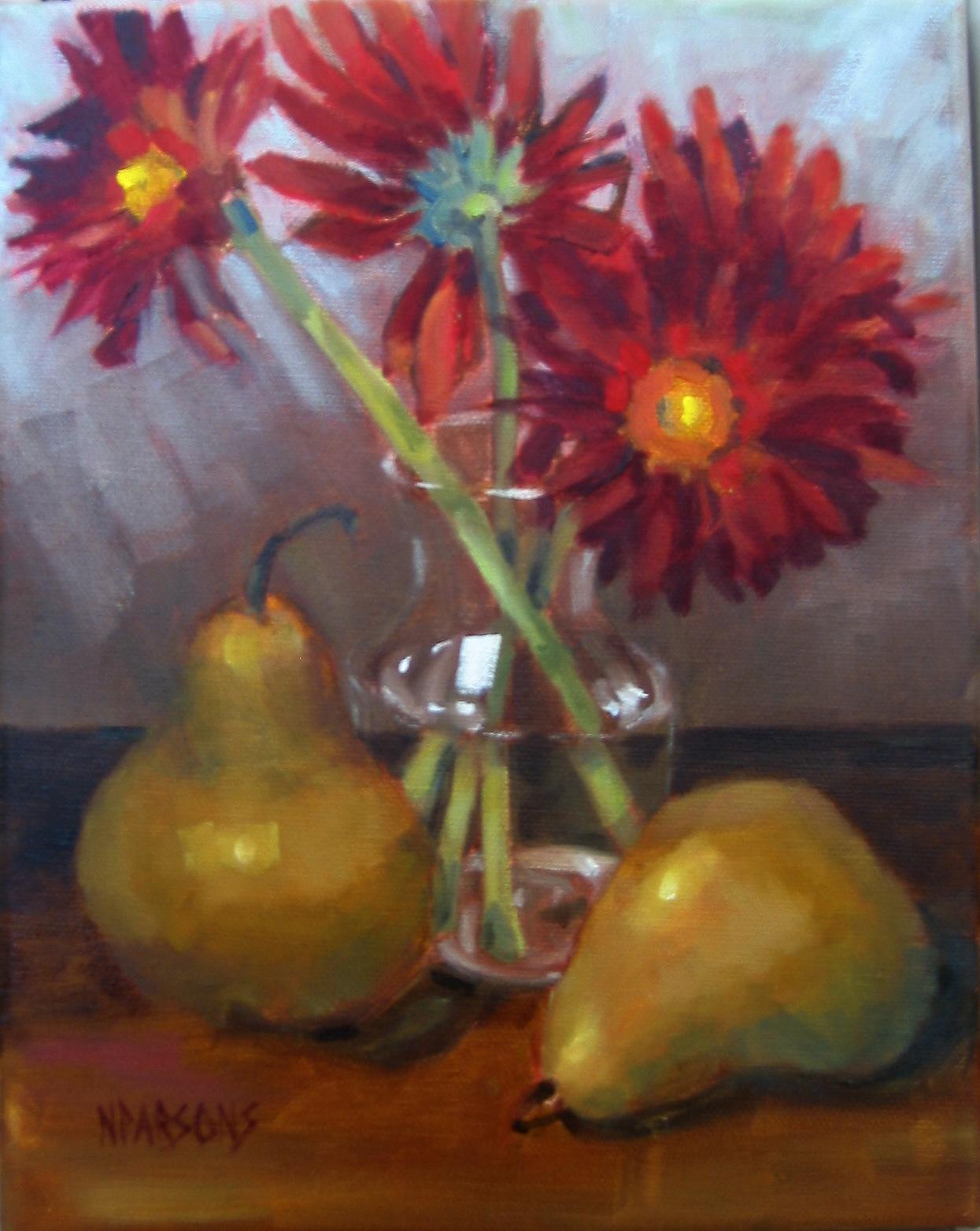 """Stupid Pear Tricks"" original fine art by Nancy Parsons"