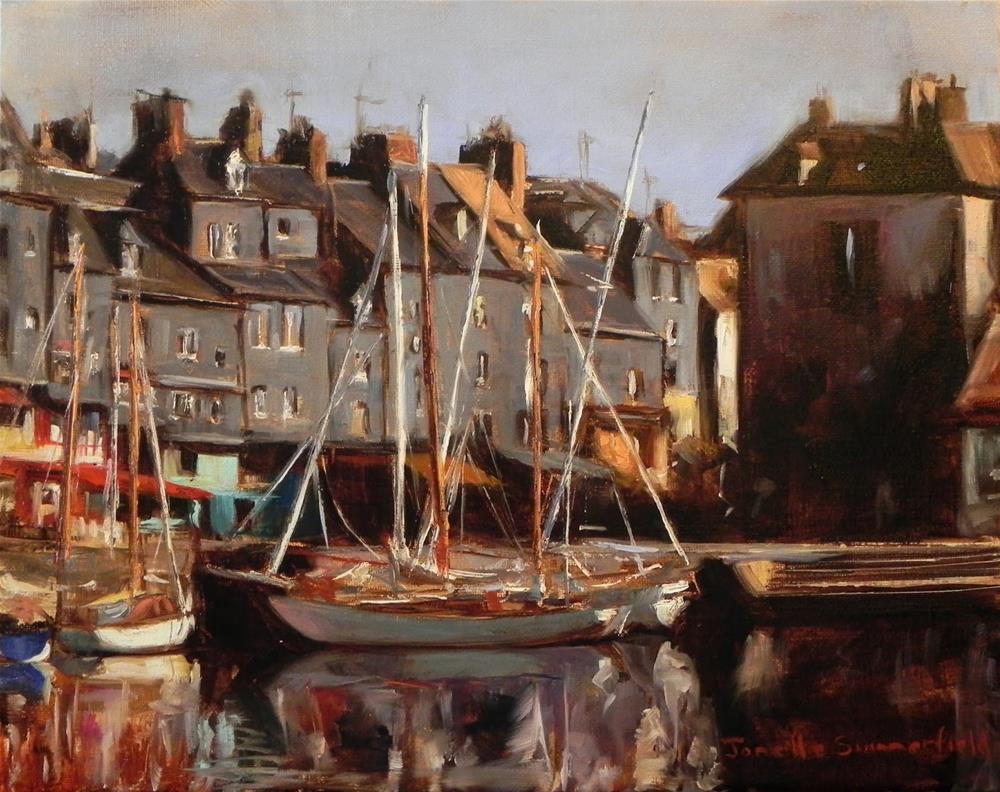 """""""Honfleur Boats III"""" original fine art by Jonelle Summerfield"""