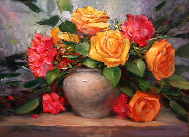 """""""Roses and Geraniums- Framed - free shipping"""" original fine art by Justin Clements"""