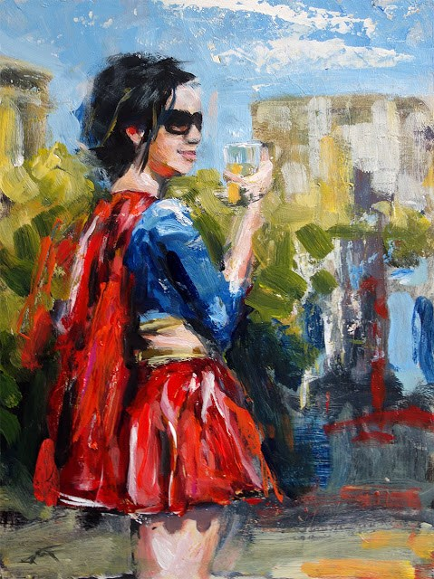 """""""Even Supergirl Likes a Cold One as Much as the Next Guy"""" original fine art by J. Farnsworth"""