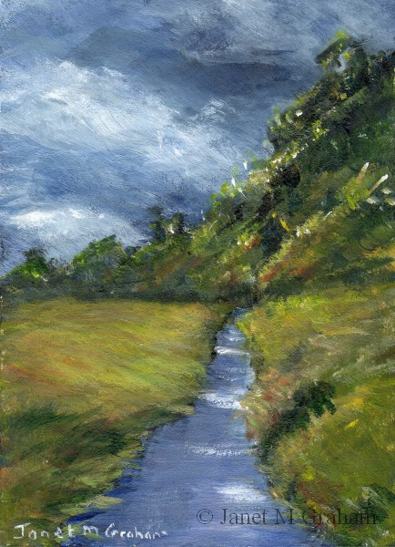 """Stormy Day ACEO"" original fine art by Janet Graham"