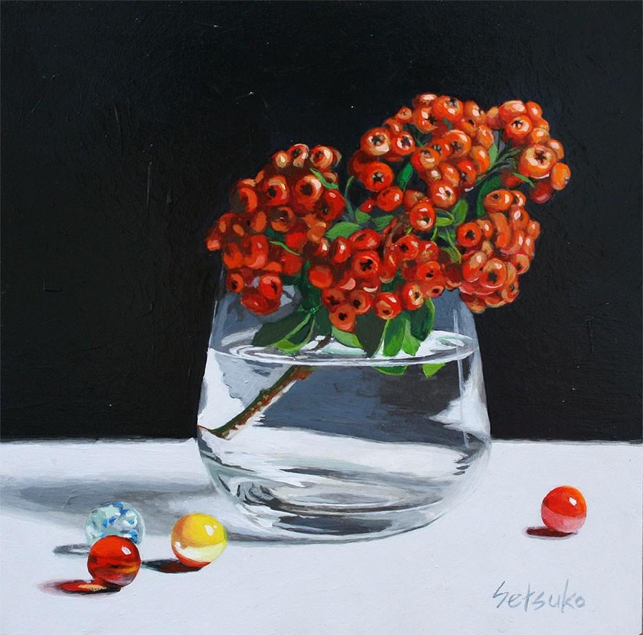 """Christmas Berries"" original fine art by Setsuko Lawson"