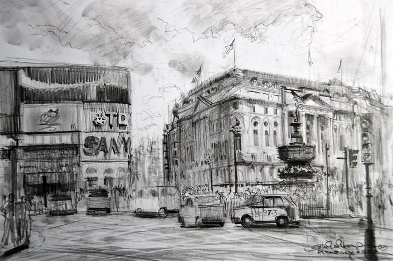 """Sketch of Piccadilly Circus"" original fine art by Adebanji Alade"