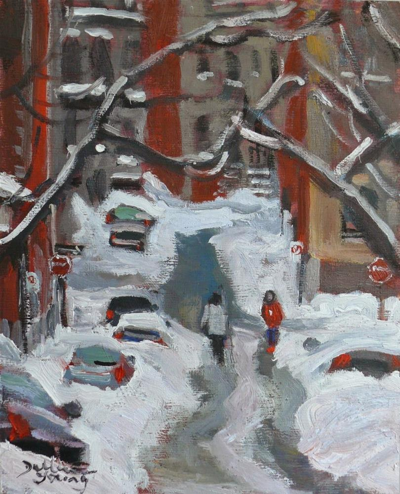 """782 Mcgill Ghetto, Montreal Winter Scene"" original fine art by Darlene Young"