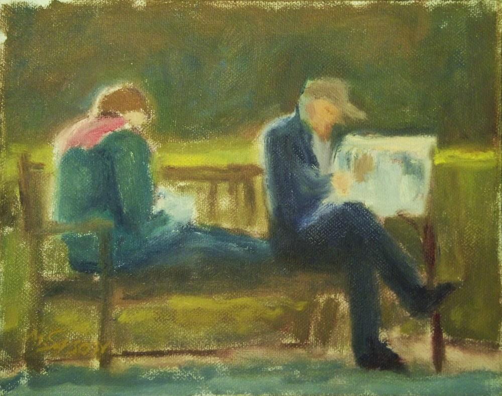 """Reading in Stereo"" original fine art by Michael Sason"