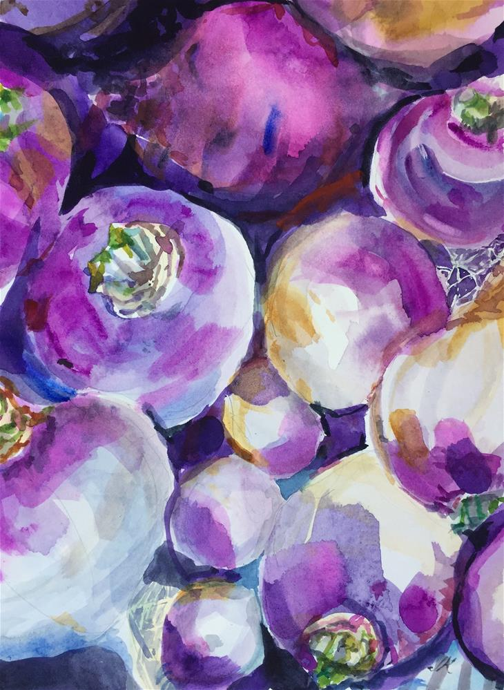 """""""Turnips"""" original fine art by Jean Krueger"""